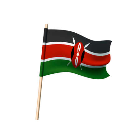 Kenya flag with black, white, red horizontal stripes, Masai shield and crossed spears. Vector illustration Illustration