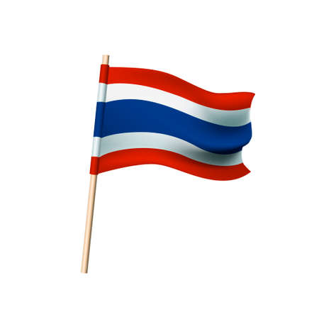 Thailand flag. Red, white and blue stripes. Vector illustration