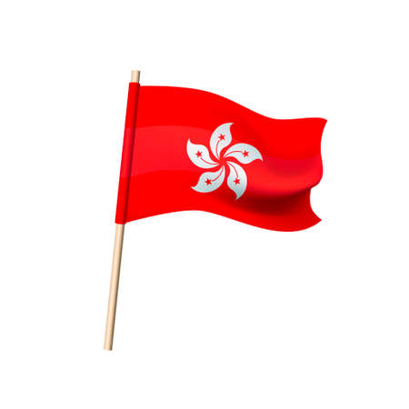 Hong Kong flag. Five petals of bauginia on red background. Vector