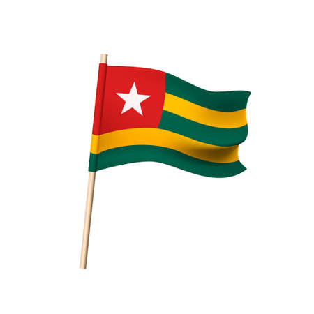 Flag of the Togolese Republic.  White ftar on red square, yellow and green stripes. Vector illustration Illustration
