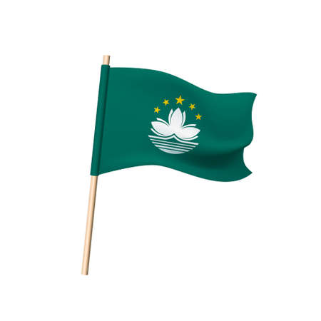 Macau flag. Lotus flower and stars on a green background. Vector