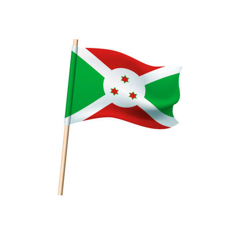 Burundi flag. Stars on circle on white, red and green background. Vector Illustration