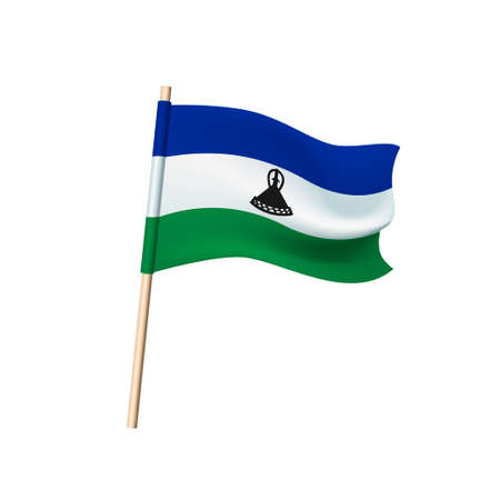 Lesotho flag. Phlegm (traditional basuto headdress) on a blue, white and green stripes background. Vector