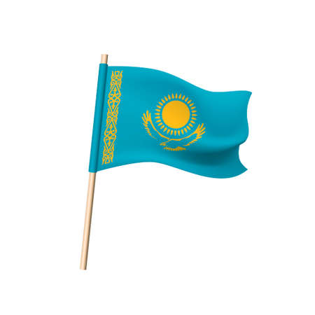 Kazakhstan flag. Sun, eagle and national pattern of gold color on a blue background. Vector Illustration