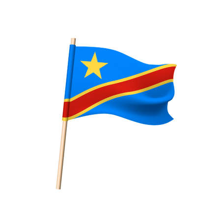 Democratic Republic of the Congo flag. Star and red diagonal stripe in yellow border on blue background. Vector illustration Illustration
