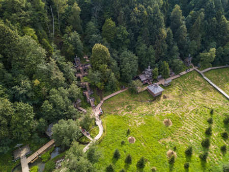 Holy Springs Gremyachiy Klyuch, aerial view. Sergiev Posad District, Moscow Region, Russia Stock Photo