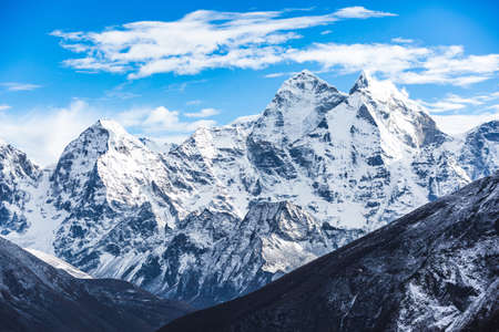Ama Dablam mountain view from the way to Everest base camp. Sagarmatha national park, Nepal