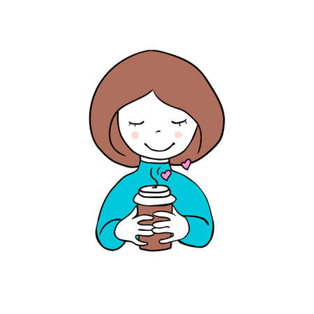Girl with сup of coffee. Vector doodle illustration Illusztráció