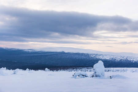 Frosty landsacape of the Northern Ural mountains, Komi Republic, Russia Reklamní fotografie