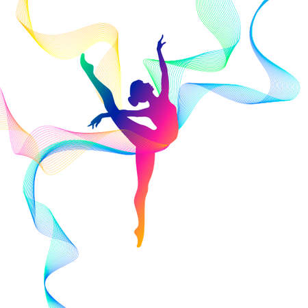 Rhythmic gymnastics. Vector silhouette of girl with multicolored lines