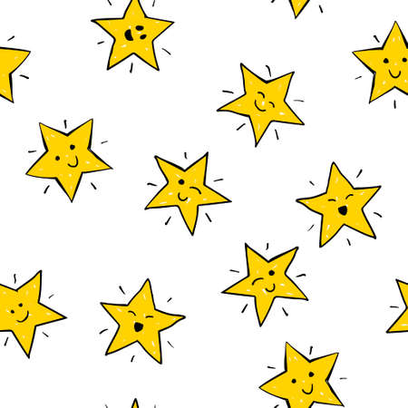 Seamless vector pattern of yellow doodle stars with faces
