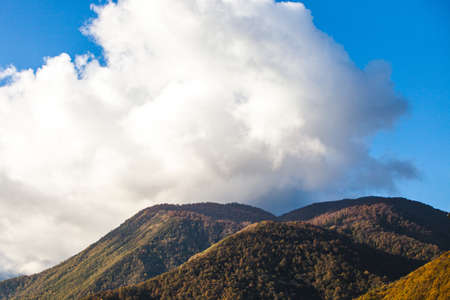 Cloud. Autumn in Caucasian Mountains. Krasnaya Polyana in Krasnodar Territory, Russia