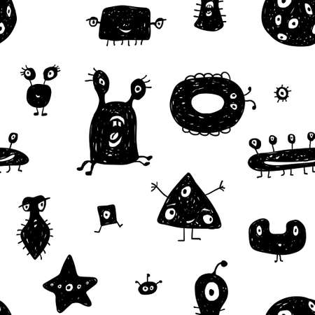 Vector seamless pattern of abstract monsters or aliens