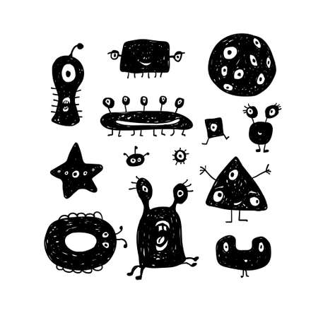 Vector collection of abstract monsters or aliens