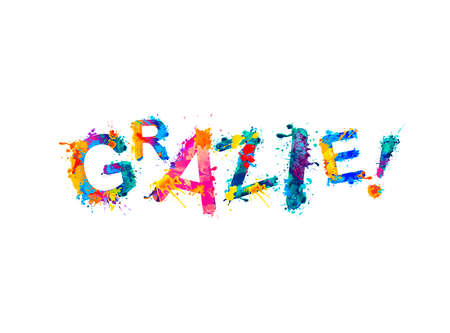 Inscription in Italian: Thank You (grazie). Splash paint vector letters 向量圖像