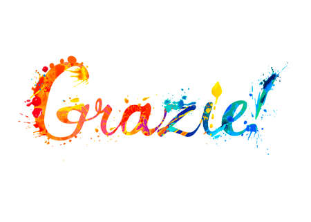 Inscription in Italian: Thank You - grazie. Vector calligraphic splash paint letters 向量圖像