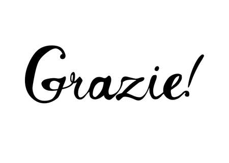 Inscription in Italian: Thank You - grazie. Vector calligraphic word