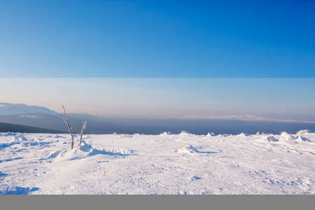 Snow on Manpupuner plateau, Komi Republic, Russia. Winter landscape