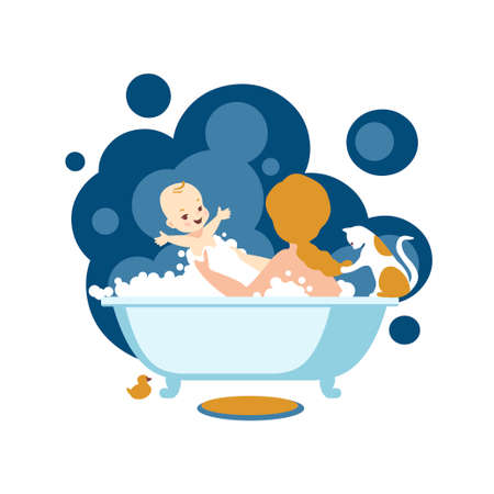 Mom washes baby in the bath. Vector illustration 向量圖像