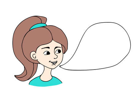 Vector doodle illustration. Girl says the phrase. Speaking bubble 向量圖像