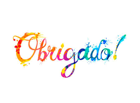 Inscription in Portuguese: Thank You - obrigado. Splash paint vector letters