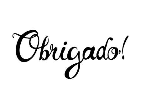 Inscription in Portuguese: Thank You - obrigado. Vector calligraphicletters 向量圖像