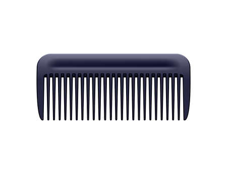 Black plastic comb on white background. Vector realistic illustration.