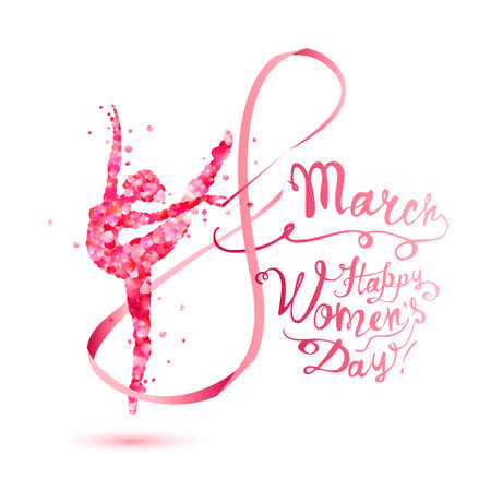 8 march. Happy Women's Day! Silhouette of a dancing woman with ribbon of pink rose petals