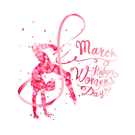 8 march. Happy Women's Day! Silhouette of a gymnastics woman with ribbon of pink rose petals