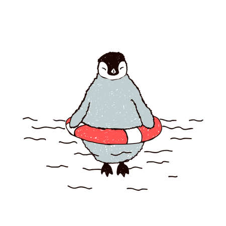 Little penguin swims in a lifebuoy. Vector doodle illustration