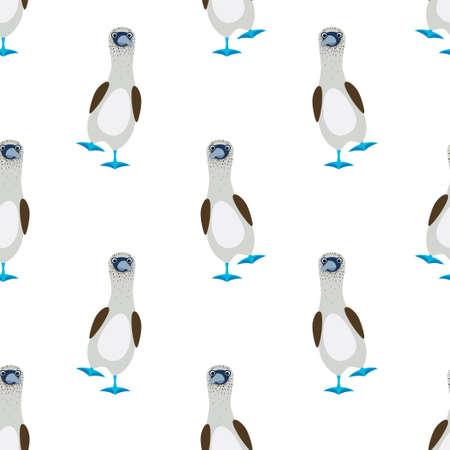 Seamless vector pattern of gannets bird with a blue feet Vektoros illusztráció