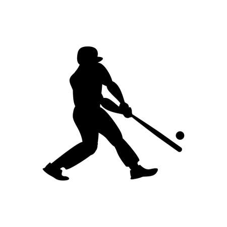 Man with bat playing baseball icon. Vector silhouette black on white