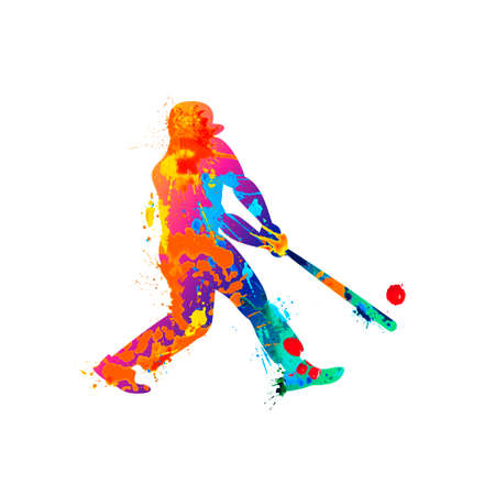 Man with bat playing baseball icon. Vector silhouette of splash paint