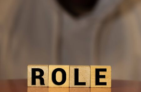 Role Word Written In Wooden Cube, concept