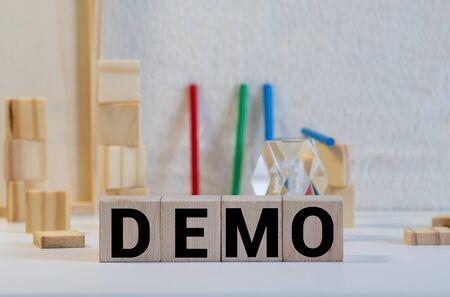 DEMO word made with building blocks, concept 版權商用圖片