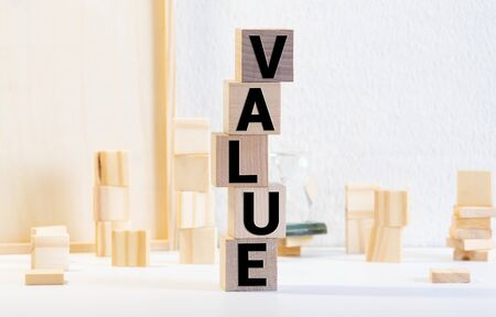 values word background on wood blocks, concept