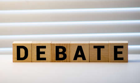 Wooden Blocks with the text: Debate, business concept Stock Photo