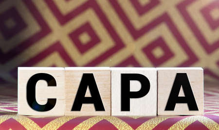 CAPA word made with building blocks Stok Fotoğraf