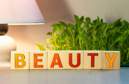 You are beautiful word written on wood block. You are beautiful text on wooden table for your desing, Top view concept.