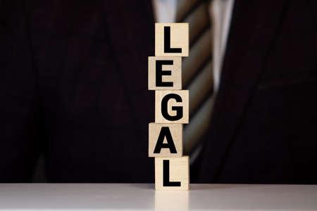 LEGAL word written on wood block 免版税图像