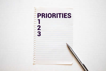 Word writing text PRIORITIES. Business concept for Reactions responses to questions statements or situations Choices Flat lay above white blank paper with copy space for text messages.