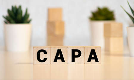 CAPA word made with building blocks, business concept Stok Fotoğraf
