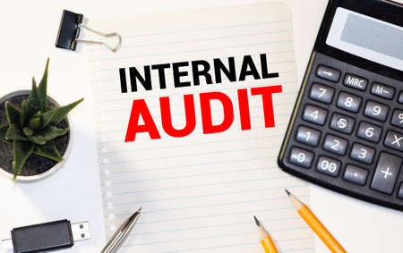Hand with marker writing Internal Audit flowchart Stock fotó