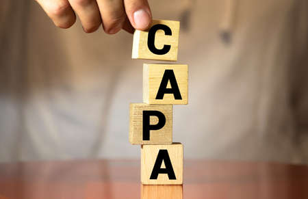 words CAPA Corrective and Preventive action plans. Stok Fotoğraf