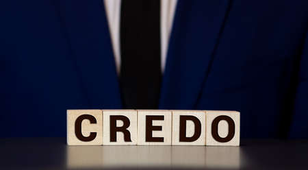 Credo word concept on cubes, business concept