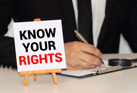 Word text Know your rights on white paper card
