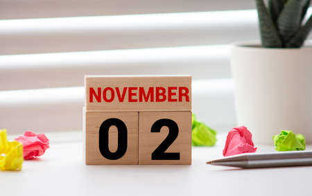 Cube shape calendar for November 02 on wooden surface with empty space for text