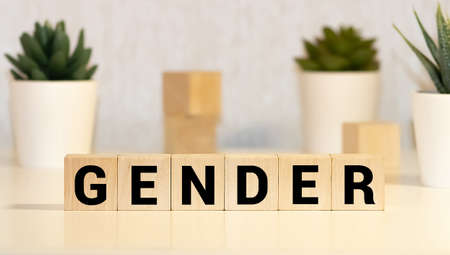 Gender - word from wooden blocks with letters, the male or female sex concept, random letters around, top view on wooden background