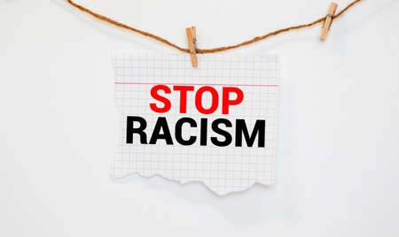 Say No To Racism card isolated on white background. Imagens