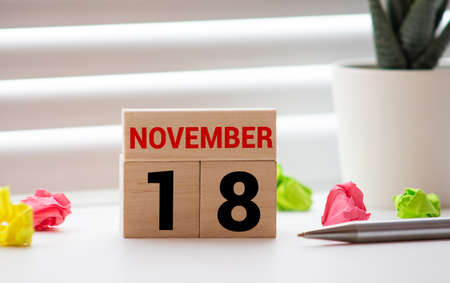 White block calendar present date 18 and month November on white wall background. Imagens
